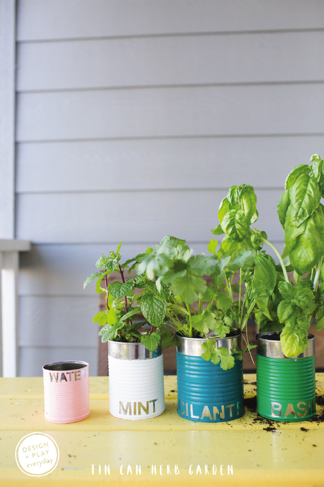 Earth Day Tin Can Herb Garden