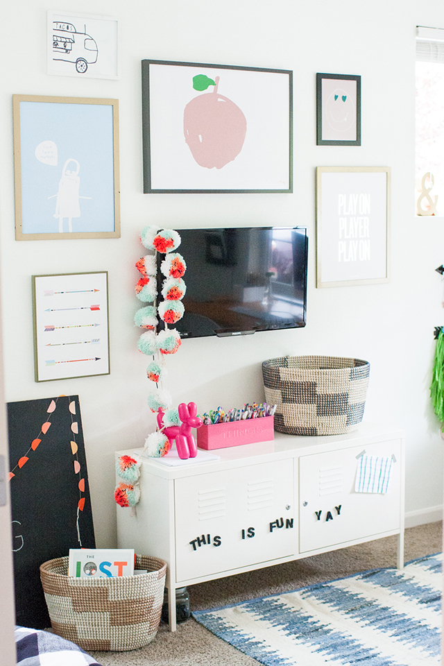 Favorite Part Of The Room Makeover Is This Wall I Asked Kids To Draw Simple Pictures And Then Scanned Made Some Small Edits Had Them Printed As